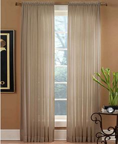"Miller Curtains Window Treatments in Taupe, Preston Rod Pocket 51"" x 84"" Panel - Sheer Curtains - for the home - Macy's"