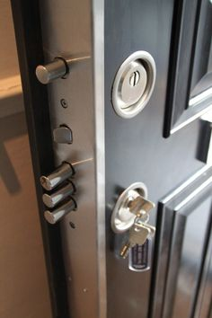 The best way to prevent robbery in your home is to make sure that your door has proper locks. Steel door covered in Luxury Wood. A must have, all around the house, covering every way in!