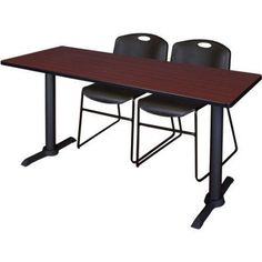 Cain 72 inch x 24 inch Mahogany Training Table and 2 Zeng Stack Chairs, Multiple Colors, Black
