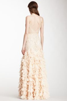 Sue Wong Embellished Cascading Ruffle Ball Gown