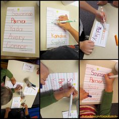 "Pre-K / Beginning of year Kindergarten sign-in system - Students trace their name to ""sign-in"" as they arrive to class.  Later in the year, they will write it themselves to sign-in each day.   Quick way to see who's here and it give them practice writing their name everyday!"