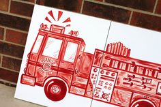 red or blue big rig fire truck art . 20x32 . fire by sincerelyYOU, $84.00