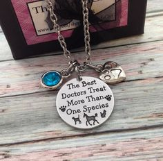 Veterinarian jewelry, Personalized Necklace, Vet tech jewelry,  Engraved Jewelry, Veterinary jewelry, veterinarian grad gift, Gift For Vet
