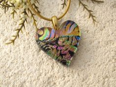 Rainbow Black Heart Necklace Dichroic Jewelry Fused by ccvalenzo
