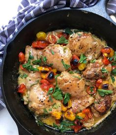 Italian garlic chicken in white wine sauce with fragrant thyme and broiled tomatoes. | CiaoFlorentina.com