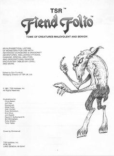 Dungeons and Dragons Edition: Fiend Folio Dungeons And Dragons Adventures, Advanced Dungeons And Dragons, Warhammer Lore, Horror Monsters, Game Resources, Creatures, Gaming, Rpg, Videogames