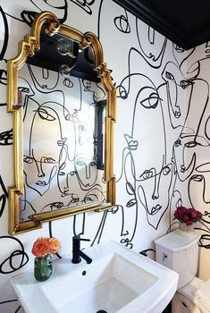 Diy bathroom decor - Get the Look with Allison Crawford Fearlessly Feminine Rue Decoration Bedroom, Diy Bathroom Decor, Bathroom Interior, Bathroom Ideas, Bathroom Mural, Bathroom Wallpaper Fish, Bathroom Drawing, Bathroom Vintage, Ikea Bathroom
