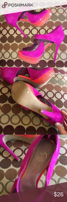JESSICA SIMPSON Leather Pink High Heel Platforms! JESSICA SIMPSON Leather Pink High Heel Platforms! Only worn once or twice, in great condition. Platform height 1.5 inches heel height 5 inches. Size 39/9 Jessica Simpson Shoes Heels