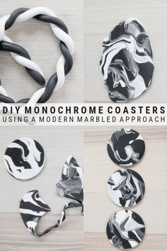 DIY Clay Coasters: Make coasters with a marble effectMaking monochrome marbled coasters // Marbled coasters with clay Ton PolymerTon PolymerTonTutorial PolymerTonCreations DIY coaster made of jeans Upcycle Jeans Polymer Clay Creations, Polymer Clay Crafts, Polymer Clay Jewelry, How To Make Coasters, Diy Coasters, Marble Coasters, Diy Clay Earrings, Bijoux Diy, Clay Beads