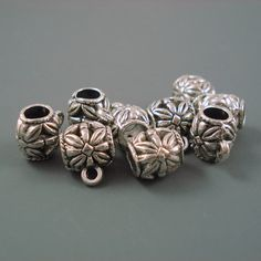 18MM Inside Diameter Bead TB-8 Very Large Charm Holder Bead for Leather or Cord TWO Pieces