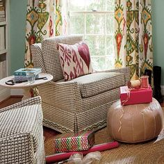 Ikat curtains, Ikat drapes, Ikat draperies, Southern Living  I love how it coordinates without matching.
