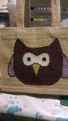 Owl mini jute bag