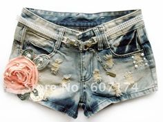 2013 fashion female slim hole flower denim ultra short thermal Denim Jeans casual shorts Size:S XL Free shiping-inJeans from Apparel  Accessories on Aliexpress.com $17.42