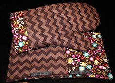 Brown Chevron and Retro Flower Print Oven Mitt and by kustomkate