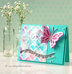 Wanda Guess: A Blog Called Wanda – Papertrey Ink February Blog Hop - Mosaic! - 2/25/15  (PTI products: Mosaic stencil.  Background: Sponged/water spritzed)
