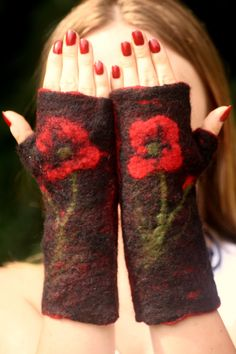 Felted Mittens for Sale  Wool Felted Fingerless by HappyHippyShop
