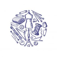Hand Drawn Sewing Elements Gathered In Circle Illustration Isolated On White Sewing Art, Sewing Patterns, Sewing Equipment, Pyrography Patterns, Boutique Decor, Collage Background, Old Sewing Machines, Fashion Design Drawings, Sewing Accessories