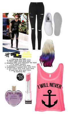 """""""Day 2"""" by im-the-quenn ❤ liked on Polyvore featuring Topshop, Vans, Revlon and Vera Wang"""