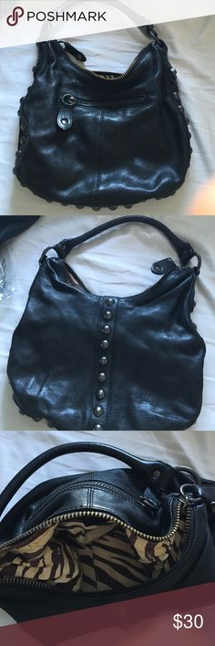 Black leather bag Black leather bag w studs. In very good condition Linea Pelle Bags