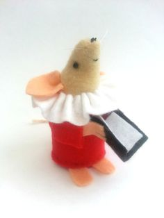 Christmas Choir Mouse handmade Red felt mouse by AsNiceAsMice