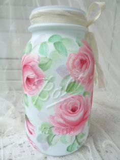 ROMANTIC PINK ROSE AQUA BALL JAR hp chic shabby vintage cottage hand painted art #GENUINEBALL #SHABBYCHIC
