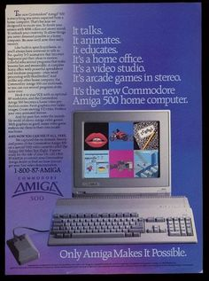 Commodore Amiga 500 Computer Ad My first computer in 1987 after Lambda 8300 :) Vintage Advertisements, Vintage Ads, Vintage Prints, Vintage Photos, Alter Computer, Computer Photo, Computer Technology, Gaming Computer, Print Ads