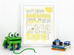 You Are My Sunshine Free Printable | Click to Download | DesignerBlogs.com