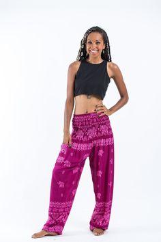 Elephant Raja Women's Elephant Pants in Pink Elephant Pants, High Cut, Gender Neutral, Parachute Pants, Harem Pants, Comfy, Fabric, Pink, Pocket
