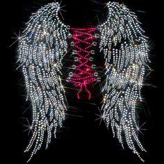 11x14  - CORSET WINGS (stones) - corset, corset wings, Rhinestone, wings, Material Transfer, Wings