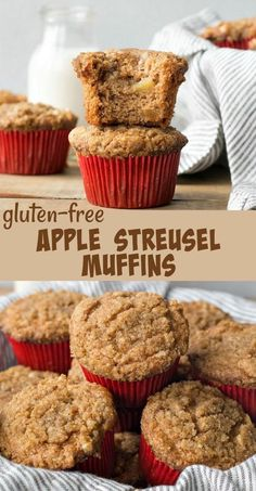 One of my favorite fall muffin recipes! These gluten-free apple muffins perfectly combine the flavors of cinnamon, butter, and apple and are topped with a cinnamon streusel topping. Gluten Free Recipes For Breakfast, Gluten Free Pancakes, Gluten Free Sweets, Gluten Free Baking, Muffin Recipes, Apple Recipes, Free Breakfast, Apple Muffins Gluten Free, Homemade Muffins