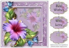 Beautiful Hibiscus In Purple 8x8 Quick Topper on Craftsuprint - View Now!