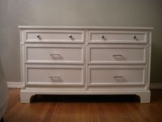 How to Paint a Dresser - white tall dresser in the bedroom