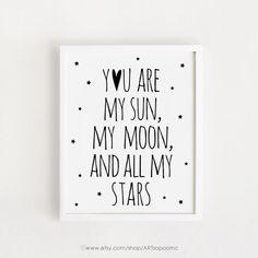 Eres mi sol mi luna y todo mi arte de estrellas para imprimir
