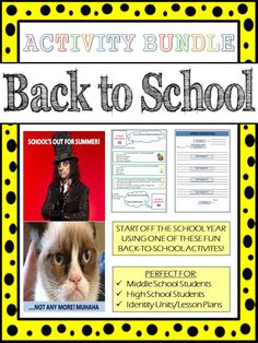 Good for older grades... This activity pack includes a total of 6 different back-to-school ideas that can be done with students during the first few weeks of classes.  Many of the activities are appropriate for and can be used within 'identity-type' units where students explore more about themselves.