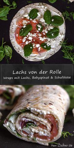 Rezept: Wraps mit Lachs, Babyspinat und Schafskäse.