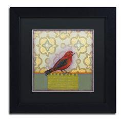 "Trademark Art 'Small Bird' by Rachel Paxton Framed Painting Print Matte Color: Black, Size: 16"" H x 16"" W x 0.5"" D"