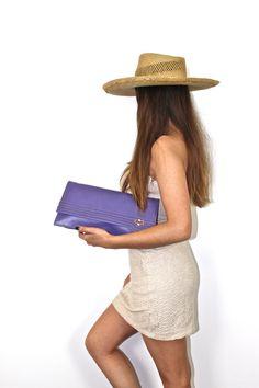 vintage purple lilac leather clutch bag by ilvecchioarmadio