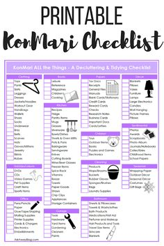Free Printable KonMari Decluttering & Tidying Checklist Are you wondering what the KonMari Method is? This post explains what it is, why everyone is raving about it, and gives you a free printable KonMari checklist! Deep Cleaning Tips, Cleaning Hacks, Room Cleaning Tips, Home Cleaning, Bedroom Cleaning, Move Out Cleaning, Clean Bedroom, Speed Cleaning, House Cleaning Checklist