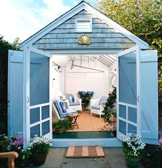 Shed Plans - Nautical garden shed escape New England style. - Now You Can Build ANY Shed In A Weekend Even If You've Zero Woodworking Experience! Outdoor Garden Rooms, Outdoor Living, Outdoor Sheds, Outdoor Spaces, Outdoor Decor, Porches, New England Style, She Sheds, Backyard Retreat