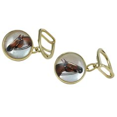 Hermes Paris Gold Horse Cufflinks | From a unique collection of vintage cufflinks at https://www.1stdibs.com/jewelry/cufflinks/cufflinks/