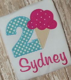 Ice Cream Cone Birthday Shirt Applique Embroidery by momof5hs63