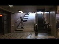 Piano steps.  A project in Stockholm Subway 3 years ago. The qusteion was: Could we make funnier staircases to make people use them instead? Sustainable?