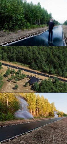 Forget New York's high line. In Russia they have an awesome 51 meters long trampoline through the forest.