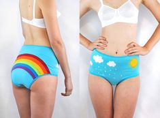 Rainbow panties with clouds rain and sun lingerie von knickerocker, $39.00