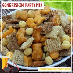 Gone Fishin Chex Party Mix Recipe - warning super addicting! Easy and delicious. Made a huge batch to bring to the pool with us in little snack size bags.