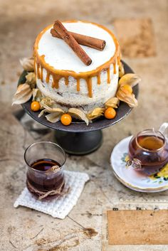 Carrot Cake with Mascarpone Frosting and Chai Caramel