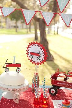 little red wagon party...would make a cute baby shower or birthday party