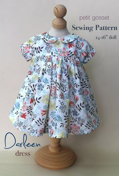 Baby Girl Dress Patterns, Doll Dress Patterns, Baby Clothes Patterns, Doll Sewing Patterns, Clothing Patterns, Pattern Dress, Dress Sewing Tutorials, Sewing Doll Clothes, Little Doll