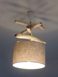 Lustre - suspension - plafonnier en bois flotté - création unique - lin 28 cm