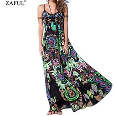 ZAFUL Maxi Printed Spaghetti Strap Beach Dresses